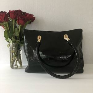 Cole Haan Black Patent Leather Large Tote Bag